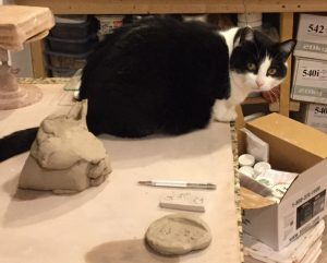 Photo of studio workbench complete with helpful cat.