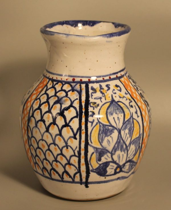 Majolica vase, alternate face, painted with blue, gold and orange leaves and scales