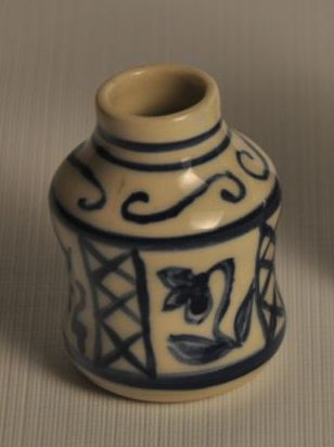 Spice Jar/Ink well - white clay painted with blue cobalt lines and flowers