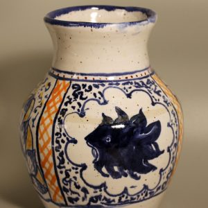 Vase glazed in white then overpainted with stains in gold and blue with Medieval Andalusian style flowers and stylised animal head